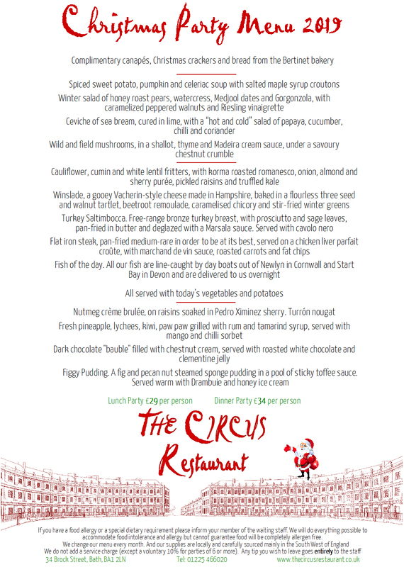 Christmas Party Menu at The Circus Restaurant